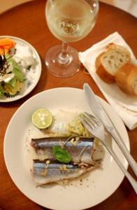 秋刀魚のワイン蒸し