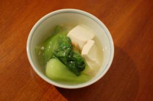 豆腐と青梗菜のしょうがあんかけ