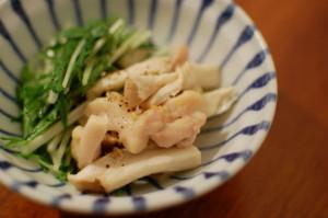 塩鶏と水菜の酒蒸し