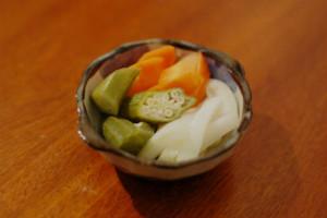 にんじんと白菜とオクラの糠漬け