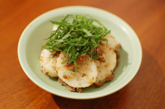 長芋とひき肉の炒めもの