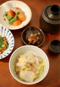 白菜と豚の重ね蒸し献立