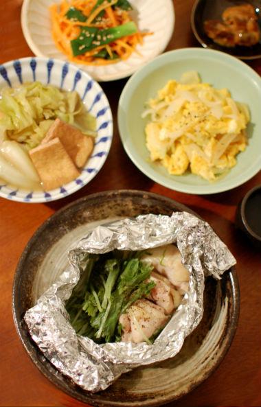 塩鶏と水菜のホイル蒸し献立