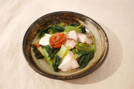 鰤と小松菜の梅昆布蒸し