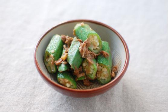オクラとツナの生姜醤油和え
