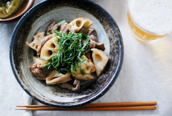 牛肉とレンコンのしょうゆ炒め