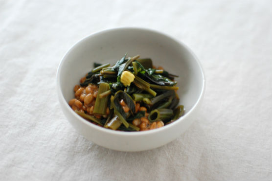 空芯菜入り納豆