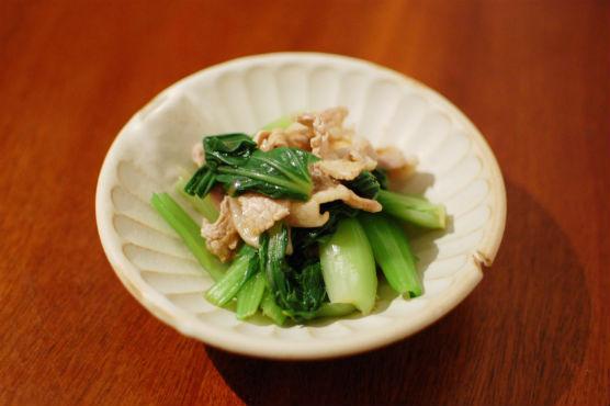 青梗菜と豚肉の辛子和え