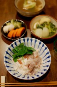 山芋と豚肉の梅和え
