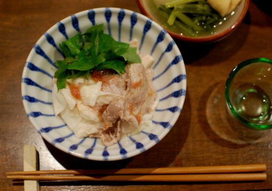 長芋と豚肉の梅和え