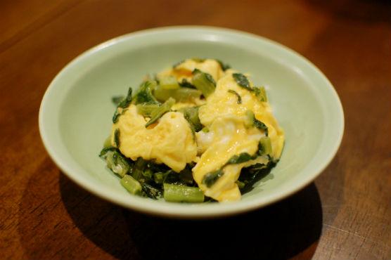 大根葉の卵炒め