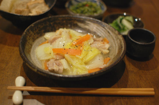鶏もも肉と白菜のうま煮献立