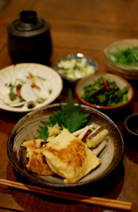 きつね納豆、大根と豆苗のしょうがスープ献立。