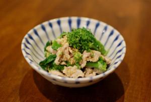 豚肉と菜の花の胡麻マヨネーズ和え