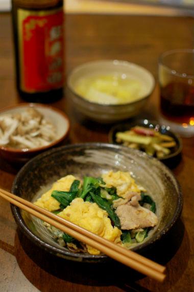 小松菜と豚肉の卵炒め献立