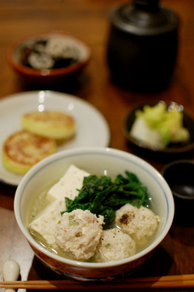 鶏団子豆腐、焼き大根献立。