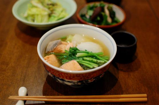 塩鮭と蕪の味噌煮込み献立
