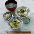白菜漬け わかめと新玉ねぎの味噌汁 蕪とツナのサラダ エリンギの卵とじ