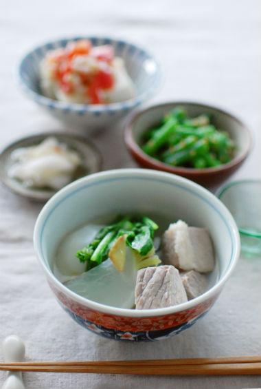 塩豚と蕪のスープ煮、インゲンのごま和え献立