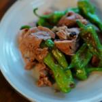 牛肉とししとうのしょうゆ炒め、セロリとにんじんのツナサラダ献立。