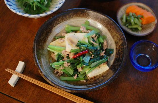 小松菜と豆腐の炒めもの