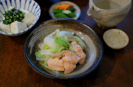 秋鮭と白菜のしょうが蒸し献立