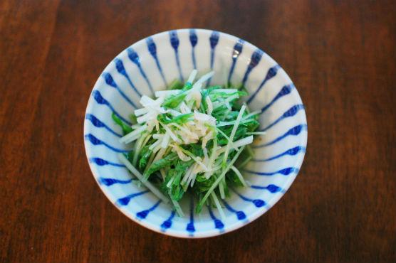 水菜と干しあみエビの煮浸し