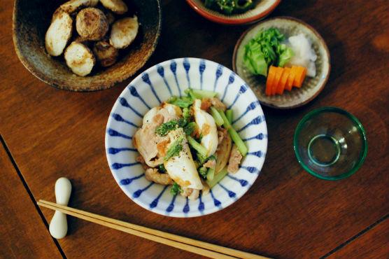蕪と豚肉の梅炒め