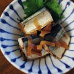 秋刀魚のしょうが煮、柿とくるみの白和え献立。