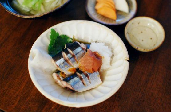 秋刀魚の梅蒸し献立
