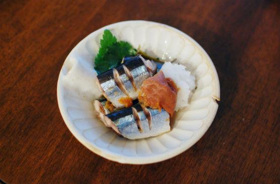 秋刀魚の梅昆布蒸し