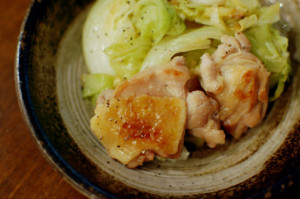 塩鶏とキャベツの蒸し焼き