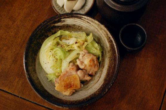塩鶏とキャベツの蒸し焼き献立