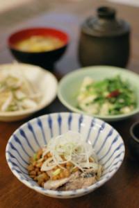 鯖納豆、豆苗と豆腐の炒めもの献立。