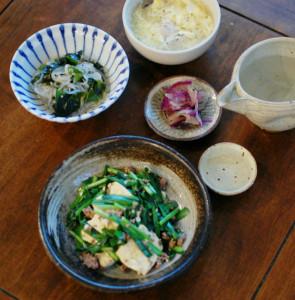豆腐とニラの塩炒め献立
