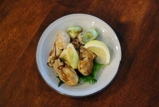 牡蠣とねぎのしょうゆ炒め