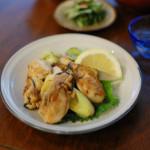 牡蠣とねぎのしょうゆ炒め、しめじと玉ねぎの卵とじ献立。