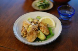 牡蠣とねぎのしょうゆ炒め献立