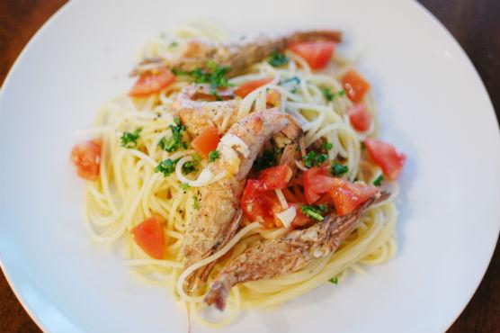 ガサエビとフレッシュトマトのスパゲティーニ