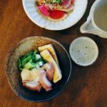 たことわけぎのぬた、明太子豆腐献立。