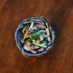 セロリと卵の炒めもの、砂肝のポン酢漬け献立。