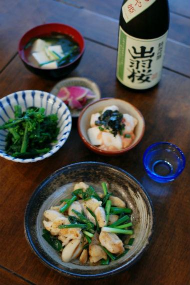 鶏むね肉とエリンギのしょうが炒め、長芋明太子和え献立