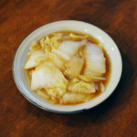 白菜の黒酢炒め、ベーコンと里芋の味噌汁献立。