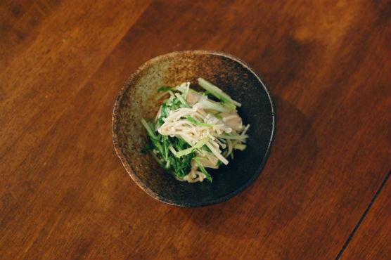 水菜とえのきの塩わさび和え