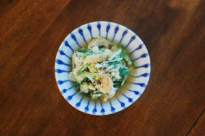 水菜と油揚げの卵とじ
