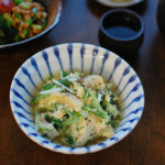 水菜と油揚げの卵とじ、梅わかめ納豆献立。