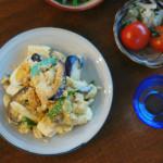 ぬか漬けの卵炒め、ピーマンとツナの和えもの献立。