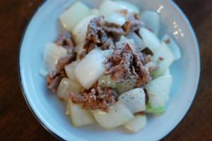 牛肉と玉ねぎのしょうゆ炒め献立