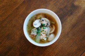 マッシュルームとベーコンのスープ