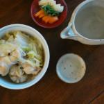 手羽元と白菜の煮込み、ピーマンの塩昆布和え献立。